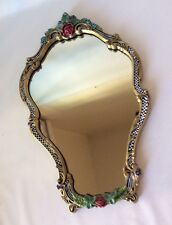 VTG Whimsical Wall Mirror Hand Painted Checks Stripes Floral OOAK