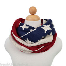 Premium USA US American Flag Winter Knit Infinity Loop Circle Scarf