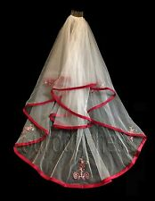 DAVID'S DAVIDS BRIDAL APPLE RED WHITE FINGERTIP VEIL 682 GUC 2 TIER VALENTINE