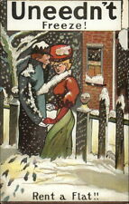 Uneedn't Freeze - Romance Couple in Cold c1910 Postcard RENT A FLAT!