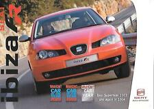 SEAT IBIZA 1.8 20V TFR AND THE 1.9 TDI FR SALES 'BROCHURE'/SHEET  JANUARY 2004