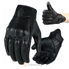 Motorcycle Riding Racing Bike Protective Armor Short Leather Gloves Solid M L XL