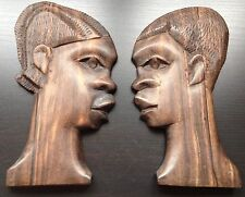 Set Of 2 Vintage African Solid Rosewood Hand Carved Head Face Woman Wood Wall