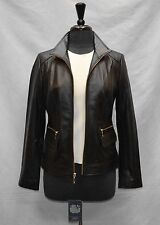 E0 NEW COLE HAAN Wmns Black Soft Leather Wing Collar Zip Up Jacket Size L $450