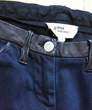 Isabel Marant Etoile Dark Blue Lamb Leather-Trim Piping Jeans Pants Sz 1