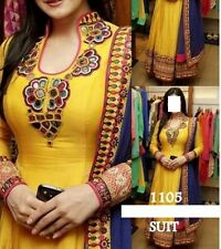 PRETTY YELLOW BOLLYWOOD DESIGNER UNSTITCHED ANARKALI