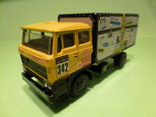 LION CAR DAF 3300 TRUCK - DE ROOY PARIS DAKAR 1983 COFFER - YELLOW 1:50 - GOOD
