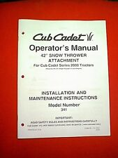 """CUB CADET 2000 SERIES TRACTOR 42"""" SNOWTHROWER ATTACHMENT 341 INSTALLATION MANUAL"""