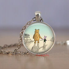 1pcs Vintage bear Cabochon Silver plated Glass Chain Pendant Necklace