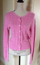 RALPH LAUREN Raspberry Pink Button Front Cardigan Sweater Lime Green Polo Pony L