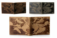 Unique WOLF Embossed Distressed Bifold Leather Wallet - Green / Tan / Dk Brown