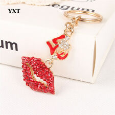 Red & Gold Clear Crystal CZ Lips Kiss Sexy Love Keyring Chain Handbag Charm 1449