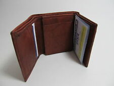Men Genuine Leather Burgundy Wallet Trifold Credit Card / Two ID Window #96