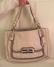 COACH Kristin Ivory Taupe Croc Python Pebbled Leather Satchel Purse M1076-16810