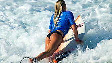 """Poster 19"""" x 13"""" Girl Surfing at Beach"""