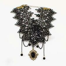 Women Vintage  Chic Jewelry Necklet Alloy Chain Bead Pendant Black Lace Necklace