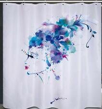 French Models Head With Blue Hair Bathroom Shower Curtain Polyester