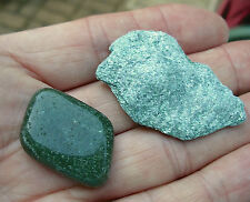 2 x GREEN FUCHSITE CRYSTALS  1 ROUGH RAW * 1 POLISHED STONE * GIFT BAG & ID CARD