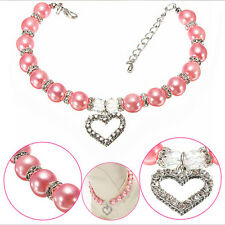 Pet Dog Puppy Cat Pearls Necklace Collar Crystal Heart Charm Pendant Jewelry