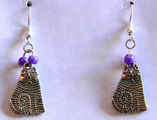 I LOVE MY CAT II Dangle Earrings. NEW By Slave Violet Jewerly  Free Shipping
