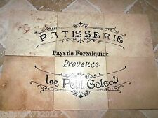 "French Country Script Bakery Shop Backsplash 100% Travertine Tiles 12"" x 18"""