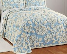 Tufted Floral Chenille Cotton Bedspread Blue -Full