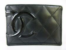 Auth Excellent CHANEL Cambon line Leather Card Case Black Pink CC Logos 29988