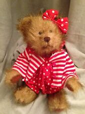 Teddy Bear Little Girl Tender Hearted Collectibles Polka Dots Fully Jointed