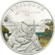 Sabre Tooth Tiger - Color  Silver Proof Coin 1000 Francs Ivory Coast 2011