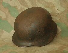 Original WW2 Battl. Relic German Steel Helmet M40 ( Battle Damage ) Kurland
