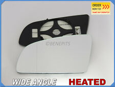 Wing Mirror Glass AUDI A3 A4 2001-2008 Wide Angle HEATED Left Side #A008