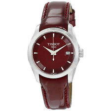 Tissot Couturier Burgundy Dial Burgandy Leather Ladies Watch T035.210.16.371.00