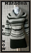 Rafaella Soft Furry Fuzzy Sweater Gray Striped Cowl Neck Angora Blend Sz 8P