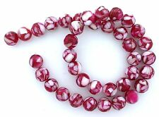 10mm Round Red Mother Of Pearl Mosaic Bead 15 Inch Strand MB17