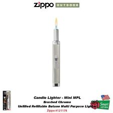 Zippo Brushed Chrome Candle Lighter, Mini MPL, Unfilled Butane Utility #121178