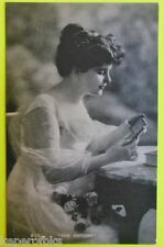 Young Lady Looks at Framed Tin Type-ORIGINAL ANTIQUE VTG RPPC Photo Postcard