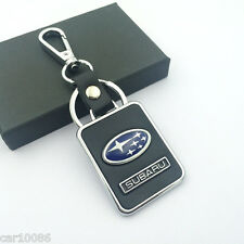 BLACK Leather Metal CAR Logo Key chain Keyring pendant key holder FOR Subaru