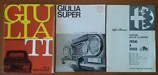 ALFA ROMEO GIULIA TI 01/1967 + ALL.TI GIULIA SUPER E FRENI A DISCO LIBRETTI USO