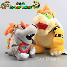 2X Super Mario Bros Plush Bowser Koopa & Dry Bones Bowser Jr. Toy Soft Doll 10''