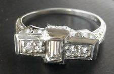 18K WG Vintage Art Deco Emerald Cut Diamond Engagement Ring~Beautiful Mount~MINT