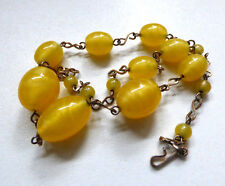 Vintage Art Deco Czech Venetian Swirl Glass Bead Necklace Yellow / Lemon