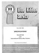 International Farmall Cub Lo-boy Loboy Tractor Specifications Service Manual IH