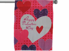"""HAPPY VALENTINE'S DAY BIG HEARTS GARDEN BANNER/FLAG 28""""X40"""" SLEEVED POLY"""