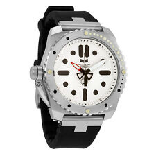 Vestal Restrictor Diver 43 White Dial Black Silicone Mens Watch RED3S01