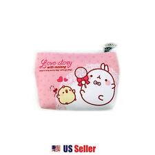 Marshmallow Bunny Lovely Molang Mini Eco Pouch with Flower Zipper Charm : Candy