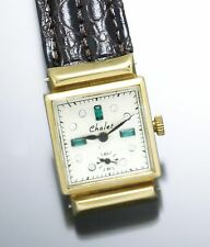 Chalet Swiss Gold Watch with Fancy Dial, Vintage 1940, Mechanical Hand Wind
