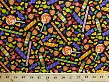 Halloween Candy Candies on Black Cotton Fabric Print by the Yard D788.10
