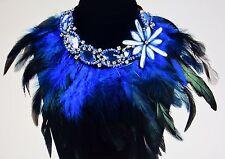 Luxus Statement Kette Strass Kristalle Feder Boa blau Collier Necklace NEU