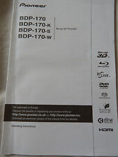 Pioneer BDP-170 Blu-Ray Player Operating Instruction Manual