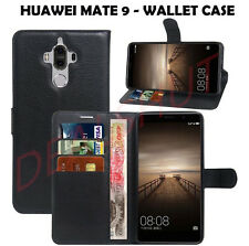 WALLET CARD HOLDER COVER LEATHER CASE WITH STAND & CLIP FOR HUAWEI MATE 9 -BLACK